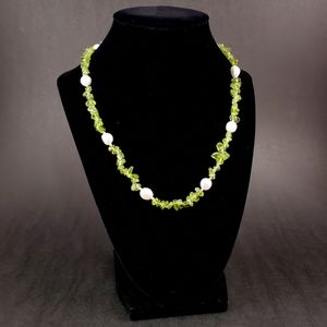 ARTISAN MADE Peridot, Pearl and Sterling Necklace